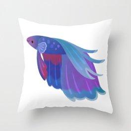 Blue Betta Throw Pillow