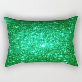 Emerald Green Glitter Stars Rectangular Pillow