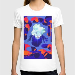 Modern Blue White Iris Orange Saffron Black Design T-shirt