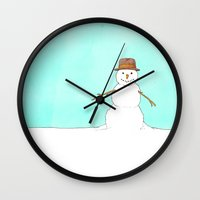 snowman Wall Clocks featuring Snowman by Theodore Parks