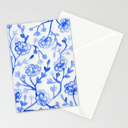 Watercolor Peonies - China Blue Stationery Cards