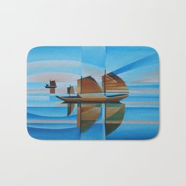 Soft Skies, Cerulean Seas and Cubist Junks Bath Mat