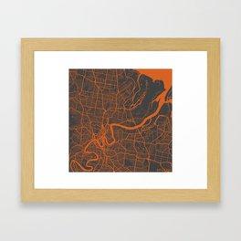 Brisbane Map Framed Art Print
