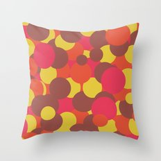 Autumn Retro Circles Design Throw Pillow