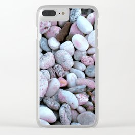 Pink & Gray rocks Clear iPhone Case