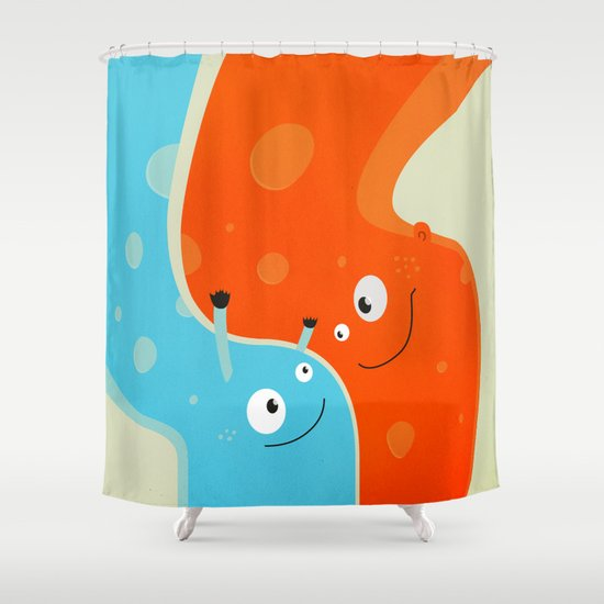 Hugging Cute Cartoon Characters Shower Curtain