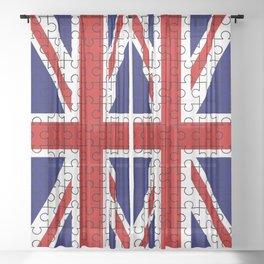 Union Jack Flag Jigsaw Sheer Curtain