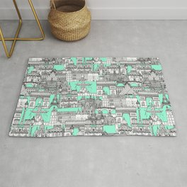 Paris toile aquamarine Rug