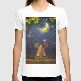 Illustration of a elephant on a bench in the night forest  T-shirt