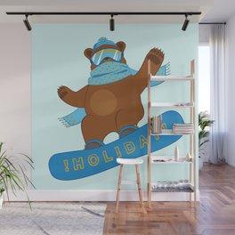 Snowboarding funny Bear Wall Mural