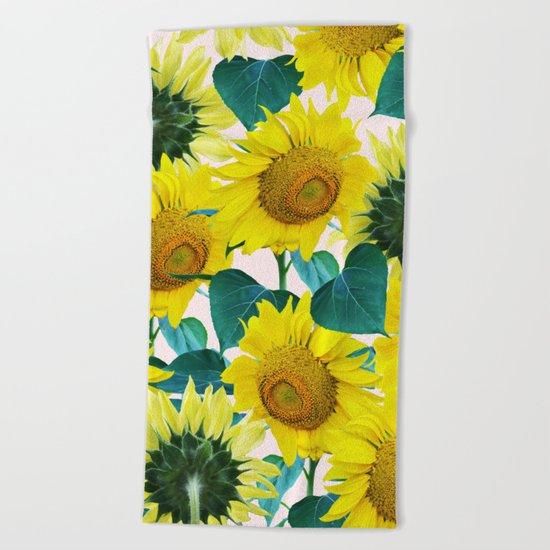 Sun Flowers #society6 #decor #buyart Beach Towel