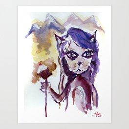 """Cat-girl Saves a Cupcake"" - watercolor on paper Art Print"