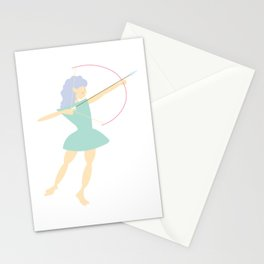 Forest Girl with bow and arrow, green Stationery Cards