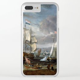 Abraham Storck - An English Yacht saluting a Dutch Man-of-War in the port of Rotterdam (1708) Clear iPhone Case