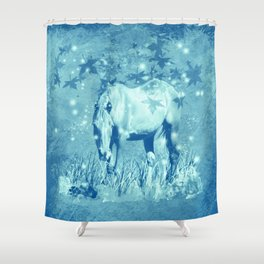 Horse and faerie lights Shower Curtain