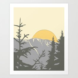 Ski Mountain Sun and Trees - Breckenridge  Art Print