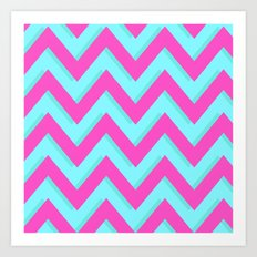3D CHEVRON TEAL & PINK Art Print