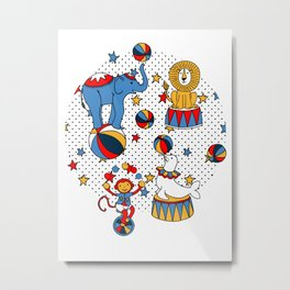 Little Circus Stars on White Metal Print