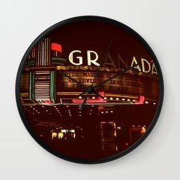 Night Lights Granada Theater, Ithaca NY Wall Clock