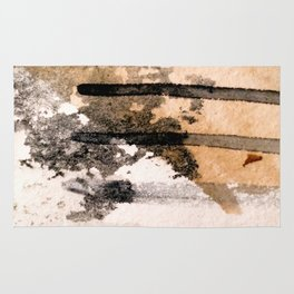 Desert Musings - a watercolor and ink abstract in gray, brown, and black Rug