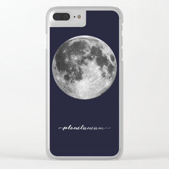 Full Moon on Navy Latin Clear iPhone Case
