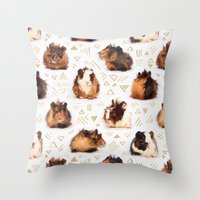guinea pig Throw Pillows featuring The Essential Guinea Pig by micklyn