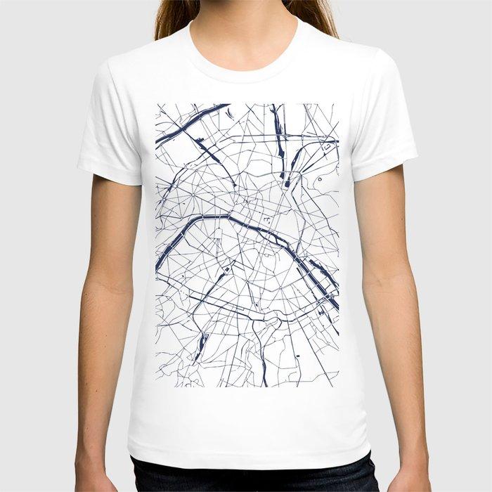 Paris France Minimal Street Map - Navy Blue and White T-shirt