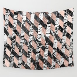 Modern Black and White Marble Rose Gold Crisscross Wall Tapestry