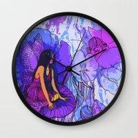 fairies Wall Clocks featuring flower fairies by Charlie L'amour