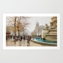 The fountain of Palm, Place du Chatelet by Eugene Galien-Laloue Art Print