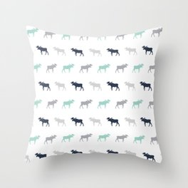 Moose pattern minimal nursery basic grey and white camping cabin chalet decor Throw Pillow