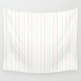 Modern geometrical pink coral green white stripes Wall Tapestry