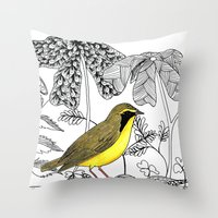 kentucky Throw Pillows featuring Kentucky Warbler by Art by Peleegirl