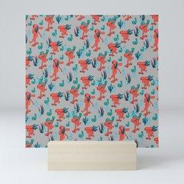 PICKING CACTUS -gray Mini Art Print