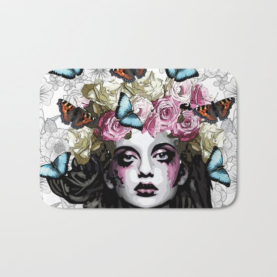 Rose, portrait of a woman with roses Bath Mat