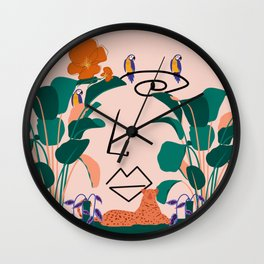 Lady of the Jungle Minimal Line Art Wall Clock