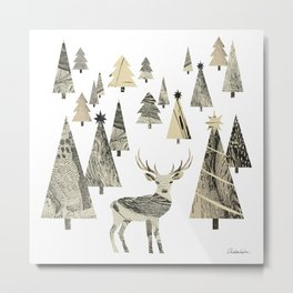 Winter Woods, collage Metal Print