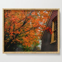 Autumn at the Window Serving Tray