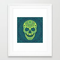 sugar skull Framed Art Prints featuring Sugar skull by Julia Badeeva