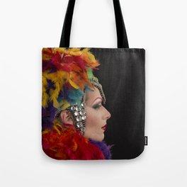 Drag Queen in Rainbow Headdress (Profile) Tote Bag