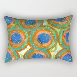 Painterly Blue Centered Circles Rectangular Pillow