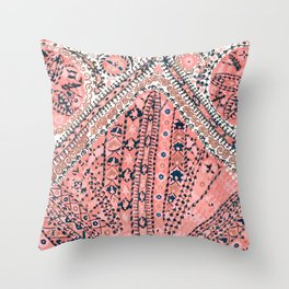 Light Pink Wildflower Sunshine III // 18th Century Colorful Pinkish Dusty Blue Gray Positive Pattern Throw Pillow