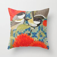 tits Throw Pillows featuring Coal Tits and Chrysanthemums by Divya Venkatesh