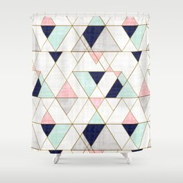 Mod Triangles - Navy Blush Mint Duschvorhang