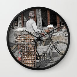 Fresh Eggs by Bicycle in Nepal Wall Clock