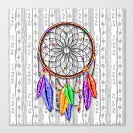 Dreamcatcher Rainbow Feathers Canvas Print
