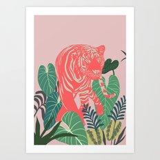 Aloha Tiger, Tiger print, Animal print, jungle print Art Print