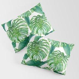 Green tropical leaves V Pillow Sham