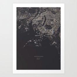Copenhagen city map Art Print
