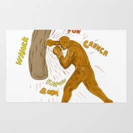 Boxer Hitting Punching Bag Drawing Rug